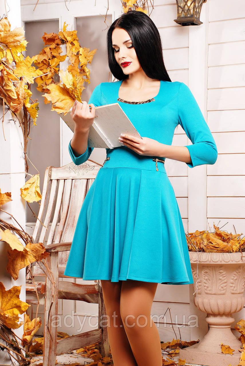 Женское платье с юбкой солнце и рукавом три четверти бирюзового цвета