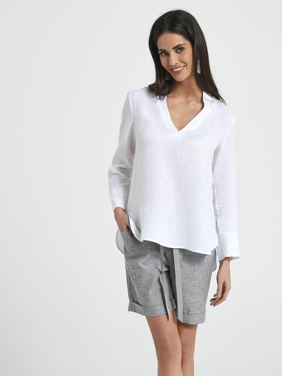 75b2c357f83 Женская рубашка белого цвета из льна. Модель 250005 Enny