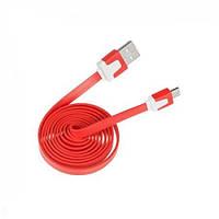Кабель micro USB - USB  красный плоский