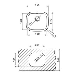 Кухонная мойка PYRAMIS KIBA SQUARE (47X41) (92mm), фото 2