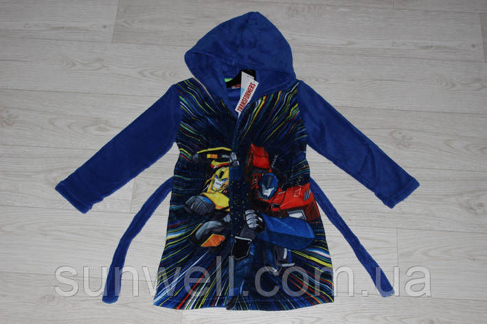 Детский халат с капюшоном для мальчиков Transformers, 3-6лет , фото 2