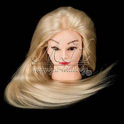Учебная голова манекен для причесок 30% натуральных волос, блондинка / болванка для плетения