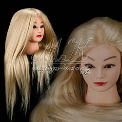 Учебная голова манекен для плетения 30% натуральных волос, длина 75 см, цвет блонд