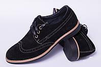 Туфли подростковые на шнурках из натуральной замши черного цвета от производителя модель ДТ - 22