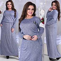 Платье батал ткань: трикотажная вискоза-меланж, прекрасно тянется,коричневый, розовый, синий.ксоф№4033, фото 1