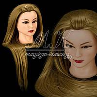 Учебная голова манекен для парикмахера, отработки плетения длина 65 см, золотистая
