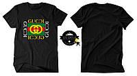 Футболка Gucci Logo черная с логотипом, унисекс (мужская, женская, детская)
