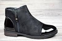 Женские ботинки весна полусапожки черные ботильоны на низком ходу искусственная замша кожа лак (Код: М1065)