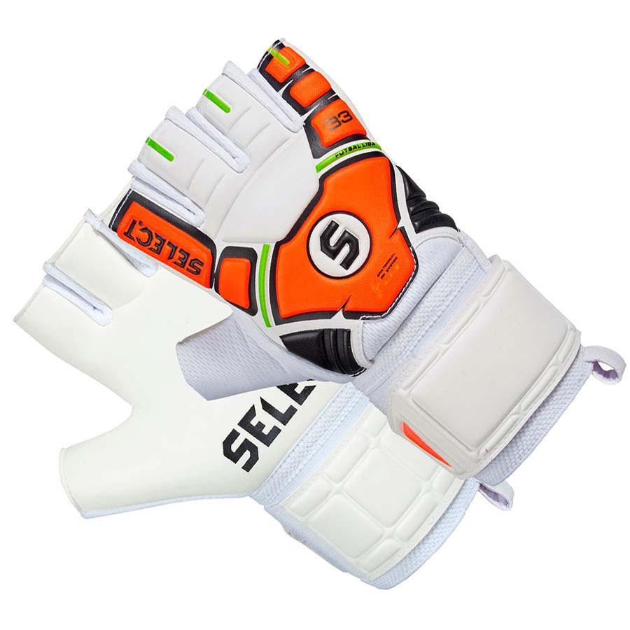 Перчатки вратарские Select 33 Futsal Liga бело-оранжевые
