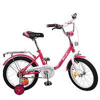 Детский двухколесный велосипед PROFI 16 дюймов для девочки Flower розовый (малиновый), L1682