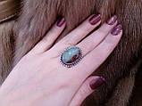 Кольцо  природный хризопраз в серебре.18 размер. Кольцо с яблочным хризопразом. Индия!, фото 3