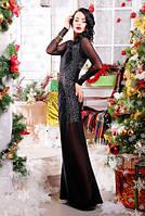 Женское вечернее длинное платье черного цвета, фото 1