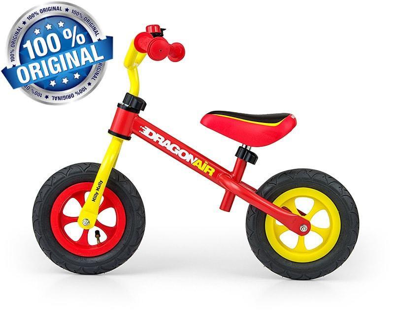 Беговел Dragon AIR с надувными колесами Milly Mally (желтый с красным)