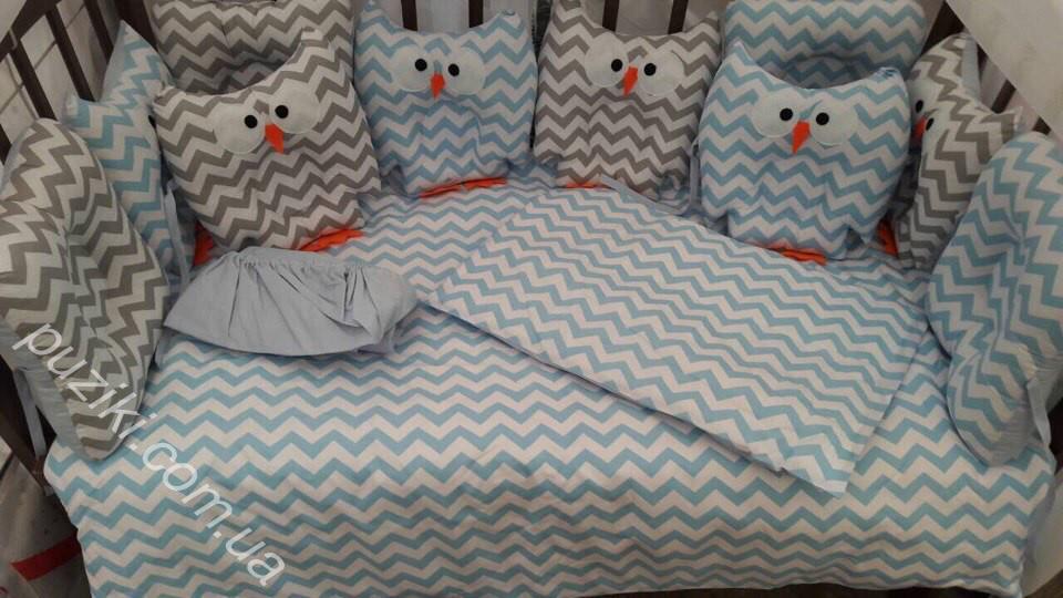 Комплект детского постельного белья 6 в 1 Совы с принтом зигзаг