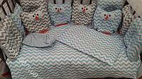 Комплект детского постельного белья 6 в 1 Совы с принтом зигзаг, фото 1