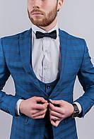 Пиджак мужской в клетку, классический №276F019 (Синяя клетка)