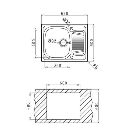 Кухонная мойка PYRAMIS SPARTA (62*50) 1B 1D (92 mm), фото 2
