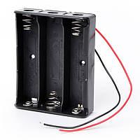 Кассетница на 3 элемента последовательно для аккумуляторов 18650 с проводами