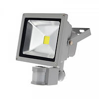 Прожектор LED 20W 6400К с датчиком движения серый