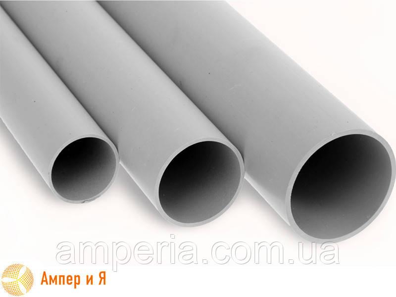 Труба ПВХ жёсткая гладкая д.50мм, Light, 3м, цвет серый