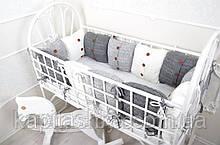 Комплект в'язаних бортиків в ліжечко, сірий