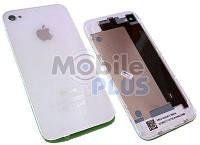 Задняя крышка для iPhone 4 Белая (стекло) полная с креплениями