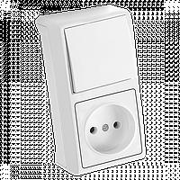 Блок верт Белый выключатель + розетка Vera Viko, 90681086