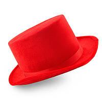 Шляпа Цилиндр велюровый (красный)