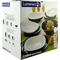 """Сервиз столовый стекло 19 предм. """"Luminarc.Carine Noir Etolanc Black & White"""" D2381 / 95276"""