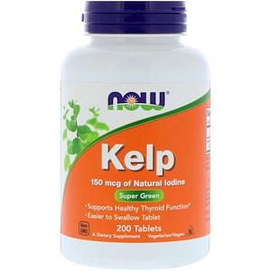 Now Foods, Келп, Бурая водоросль,  150 мкг, 200 таблеток