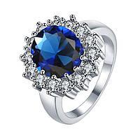Женское кольцо с синим камнем в позолоте Принцессы Дианы 154988 (17.3 18.2 20.0 размеры в наличии)