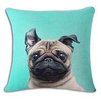 Декоративная наволочка на подушку с крутым мопсом