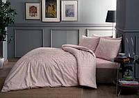 Постельное белье Tac сатин Fabian розовое двухспального евро размера