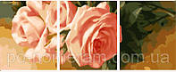 Картина по номерам MS14048 Триптих Нежные розы вертикальная 50х150