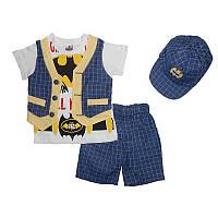 Костюм для мальчика 86-104 , 4738 футболка+шорты+кепка