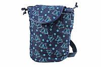 """Сумка детская """"Бабочки"""" цвет: темно-синяя, на затяжках, 1 отделение, длина: 15.5 см, ширина: 15.5 см, высота: 23.5 см, материал: ткань, детский рюкзак"""