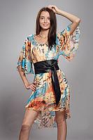 Красивое модное женское летнее платье-туника из шифона