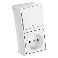 Блок верт Белый выключатель с подсветкой + розетка Vera Viko, 90681090
