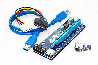 Синий Райзер riser PCI-Ex x1 to x16, Molex 4pin, Version 006, USB, 0.6m, BLUE (PCE164P-N03)