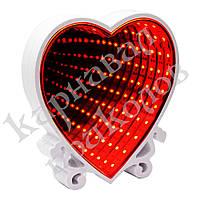 Бесконечное зеркало Infinity Mirror Сердце (красное свечение)