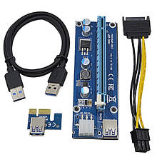 Синий Райзер riser PCI-Ex x1 to x16, питание от Molex 4pin, Version 006C, USB, 0.6m, BLUE (PCE164P-N03)
