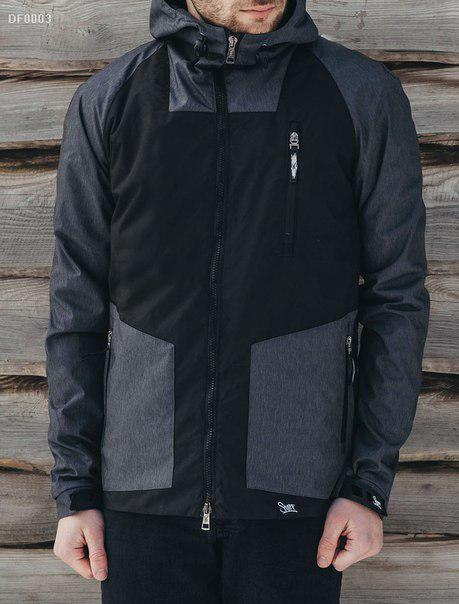 Мужская куртка весенняя скапюшоном Staff Shtorm gray and black -