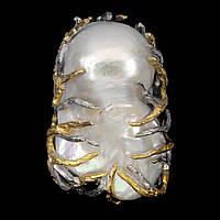 Яркое громадное кольцо. Натуральный барочный жемчуг