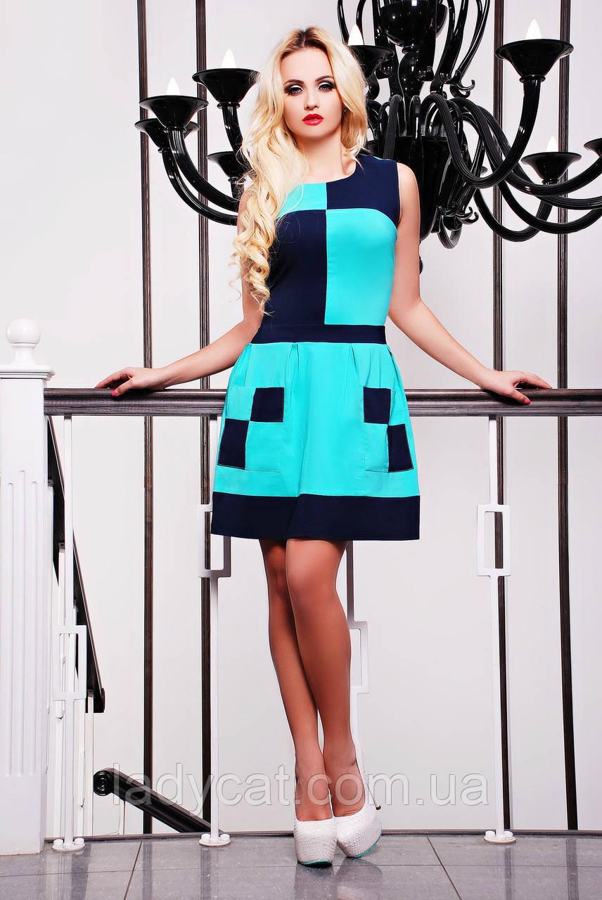 Модное молодежное летнее платье  без рукавов бирюзового цвета