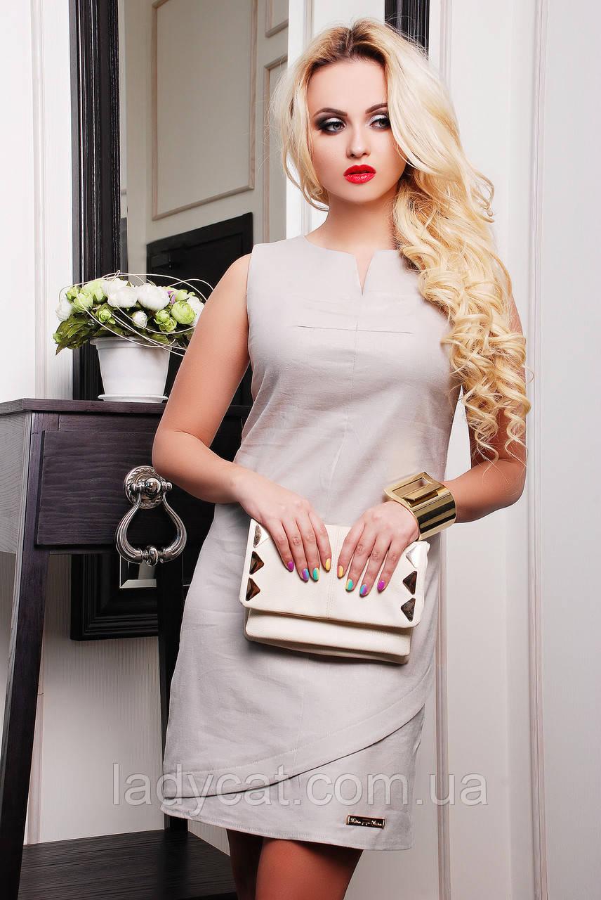 Модное летнее женское платье без рукавов бежевого цвета