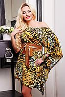 Эффектноекороткое летнее женское платье с леопардовым принтом ассиметричного покроя