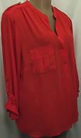 Блуза женская, большой размер, красная, креп - шифон размер 22(56), фото 1