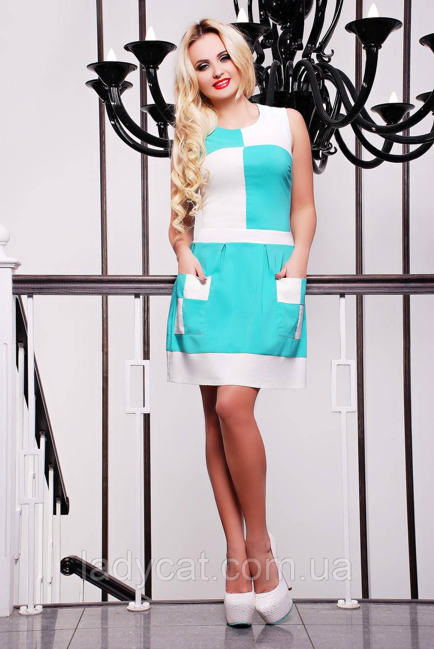 2d57f4f880a Летнее комбинированное платье без рукавов мятного цвета