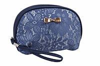 (Цена за 5шт) Косметичка овальная Gagea, длина: 17 см, ширина: 7 см, высота: 10 см, материал: ткань, на молнии, цвет: синий, с ремешком и отделкой