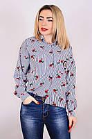 Блуза Шанель нашивка розы, рубашка а полоску, блуза с розочками, сорочка жіноча
